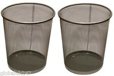 2x Black METAL MESH WASTE PAPER BIN WASTEBASKET FOR OFFICE HOME USE