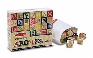 Melissa & Doug Wooden ABC/123 Blocks New