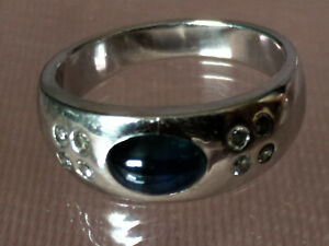 Goldschmuck 585 WeißGold Ring mit 8 kl Diamant Saphir ?  6 , g ?