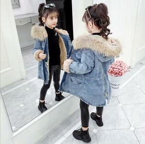 Kids Child Fleece Denim Jacket Winter Warm Jeans Coat Girls Casual Thick Outwear