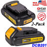 2 X For Dewalt DCB201 20 Volt Max 2.0 Ah Lithium Battery DCB203 DCB200 DCB207 US