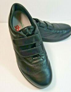 SAS Womens Shoes Sz 10.5 Wide Walking Black Hook & Loop Closure Me Too MSRP $165