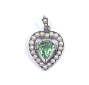 Edwardian Seed Pearl Love Heart Pendant Sterling Silver & Tourmaline 2.6g