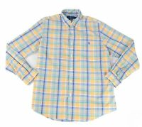 Ralph Lauren Mens Shirt Blue Size XL Plaid Print Stretch Button Down $89 #073