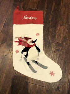 New Pottery Barn Crewel Skiing Penguin Ivory Red Christmas Stocking Mono Jackson