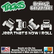 "Jeep That's How I Roll Funny DieCut Vinyl Window Decal Sticker JDM 10"" X 3.25"""