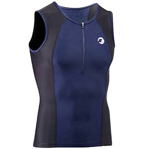 Tenn Outdoors Mens Sleevless Running Triathlon Singlet Vest Tank Top -Blue/Black