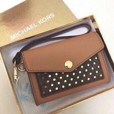 Michael Kors Medium Card Holder Wallet Wristlet Clutch Acorn Honey Brown $88 NWT