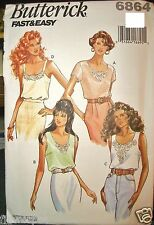 Miss Butterick 6864 Pattern Pullover Tops Cami Sleeveless Easy UNCUT Size 6-8-10