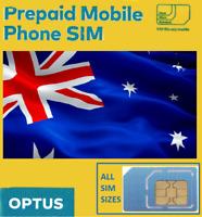 Australian Optus PREPAID SIM card. NANO, MICRO or STD. AUSTRALIA. No credit.
