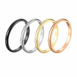 Women Gold Silver Bridal Wedding Ring Comfort 2mm Width Ring Size 3-10