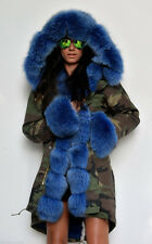 NEW Military/Army Camo Parka Coat Fully Lined with 100% Blue Fox Fur SMALL