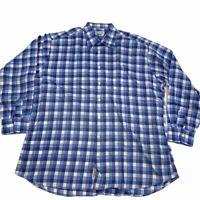 Bullock & Jones Men's Long Sleeve Button Down Shirt Blue Gingham Check Sz XL
