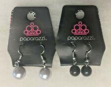 New Paparazzi Jewelry White Faux Pearl & Black Bead Dangle Earrings