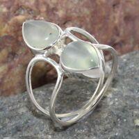 Handmade Prehnite Gemstone Solid 925 Sterling Silver Ring Jewelry