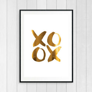 NEW XOXO Hugs and Kisses - Gold Foil Art Print (white) by Vinotopia Wine Giftwar