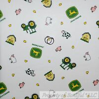 BonEful Fabric FQ Cotton Quilt White Yellow Green John Deere Pink Pig Kid Mask S