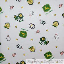 BonEful Fabric FQ Cotton Quilt White Yellow Green John Deere Baby Boy Nursery US