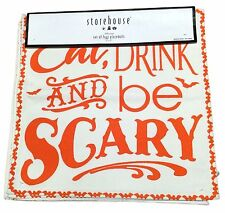 """New Halloween Placemats Set of 4 Eat Drink And Be Scary 15"""" x 15"""" Orange Square"""