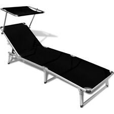 Aluminium & Textilene Fabric Sun Lounge Bed Black