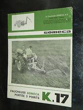 Prospectus Tracteur SOMECA Faucheuse K17  1964 tractor Prospekt traktor brochure