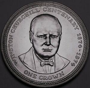 Île de Man Couronne, 1974 Gem UNC Argent ~ 100th Anniv Birth Winston Churchill~