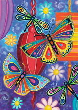 NEW TOLAND GARDEN FLAG BRIGHT WINGS DRAGONFLY BUTTERFLIES & LANTERNS  12.5 x 18