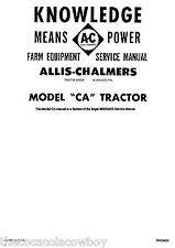 Allis Chalmers Model CA Tractor SERVICE Manual # 9003403