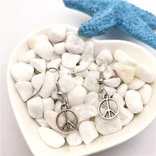 1 pair Peace symbol Earrings Tibet silver Charms Earrings Charm Earrings for Her