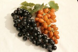 2 BUNCHES of MID CENTURY VINTAGE RUBBER PLASTIC DECORATIVE GRAPES w/ LEAVES