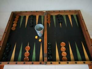 """ANTIQUE HUGE CHESS BACKGAMMON  FRENCH BOARD 28 X 20.5""""  SQUARES OF 55mm"""