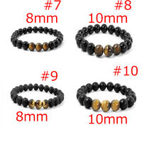 2020 Mens Spot Natural Lava Stone Gold Silver 8MM Beaded Charm Bracelet Cool