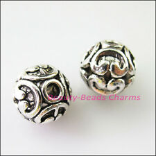 5Pcs Tibetan Silver Flower Round Ball Spacer Beads Charms 12mm