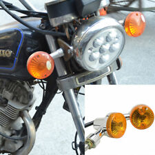 2x Bullet Motorcycle Front Rear Turn Signal Blinker Indicator Light Amber Chrome