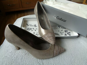 Gabor Ladies Leather Pointy Shoes Size 5 Gold NEW WITH BOX
