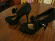 "Schuh Black Suede Bow 1.5"" Platform 5.5"" Stiletto Heel Shoes in Size 6 UK"