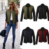 Ladies Women Bomber Jacket Classic Zip Up Biker Vintage Jacket Coat Oversize