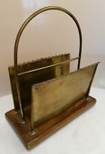 Vintage Brass and Wood Newspaper Stand (D4.GA)