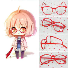 Kyoukai no Kanata Kuriyama Mirai Red Round Glasses Cosplay Accessorie With Lens