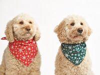 Red OR Green Snowflake Christmas Dog Bandana-Tie on Classic/Stocking Filler Xmas
