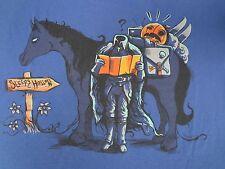 SLEEPY HOLLOW SPOOF - HEADLESS HORSEMAN READING MAP - LARGE - BLUE T-SHIRT B636