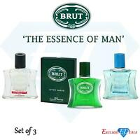 Brut Men's Aftershave Original Boxed, Sport Style, Attraction 100ml SET OF 3
