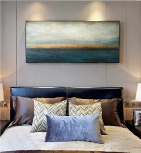LARGE HOME DECOR CANVAS HAND-PAINTED ABSTRACT SCENERY OIL PAINTING UNFRAMED 48IN