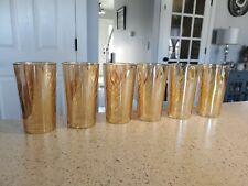 Jeanette Glass Iridescent Marigold Inverted Coil Swirl Tumblers Glasses Set 6