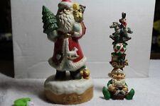 Vintage Ceramic Christmas Santa & Elf With Toys Figurines!