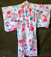 Japanese Kimono Robe Women Poplin Cotton Bight Butterfly Floral Made in Japan