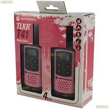 2 Motorola TLKR T41 Walkie Talkie PMR 446 2 Way 4KM 2M Radio Set Twin Pack, Pink