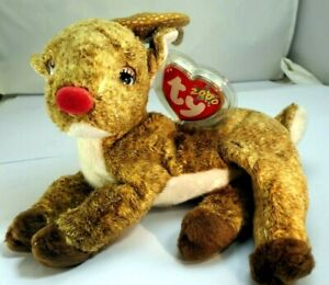 TY Beanie Baby Roxie ( 2000 Collection ) Reindeer RED nose deer Christmas