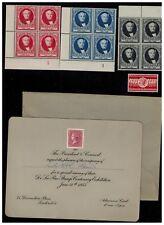 CINDERELLA  1955 THOMAS DE LA RUE BLCKS of 4 + invitation  exhibition DE LA RUE