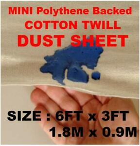 2 X POLY BACKED LAMINATED 100% WATERPROOF 6FT X 3FT COTTON DUST SHEETS
